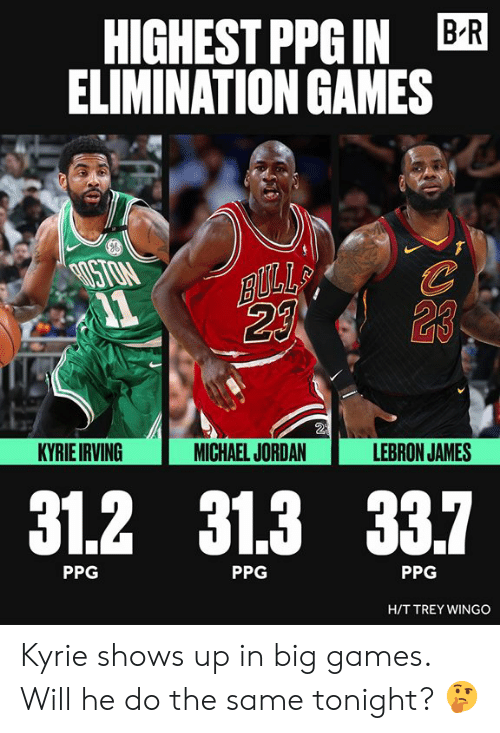 ballmemes.com: HIGHEST PPGIN BR  ELIMINATION GAMES  ISTON  23  2  KYRIE IRVING  MICHAEL JORDAN  LEBRON JAMES  31.2 31.3 33.7  PPG  PPG  PPG  HIT TREY WINGO Kyrie shows up in big games. Will he do the same tonight? 🤔