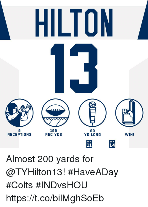 Hilton: HILTON  13  9  RECEPTIONS  199  REC YDS  60  YD LONG  WIN!  WK  WK  14 Almost 200 yards for @TYHilton13! #HaveADay #Colts  #INDvsHOU https://t.co/bilMghSoEb