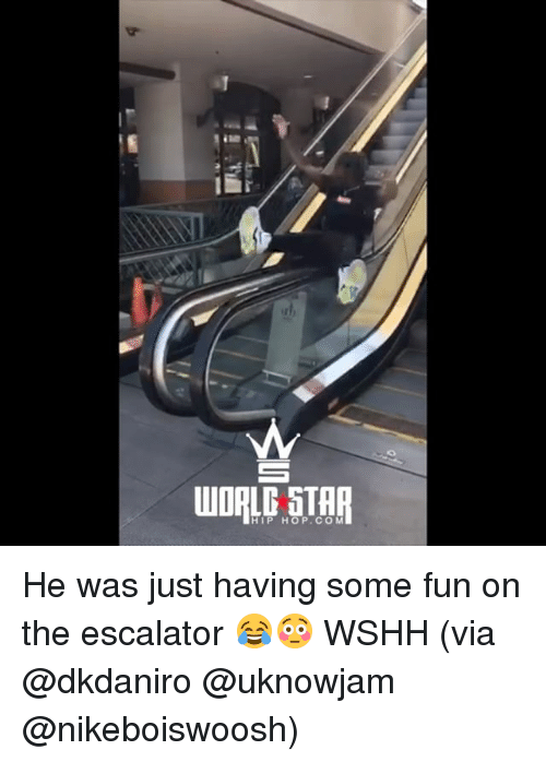 Escalator: HIP HOP.CO M He was just having some fun on the escalator 😂😳 WSHH (via @dkdaniro @uknowjam @nikeboiswoosh)