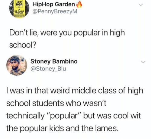 "Hiphop: HipHop Garden  @PennyBreezyM  Don't lie, were you popular in high  school?  Stoney Bambino  @Stoney_Blu  I was in that weird middle class of high  school students who wasn't  technically ""popular"" but was cool wit  the popular kids and the lames."