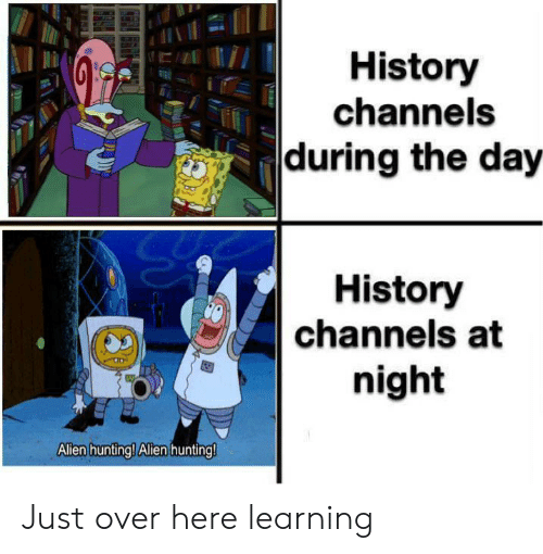 allen: History  channels  during the day  History  channels at  night  Allen hunting! Alen hunting! Just over here learning
