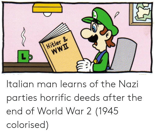 Deeds: Hitler & Italian man learns of the Nazi parties horrific deeds after the end of World War 2 (1945 colorised)