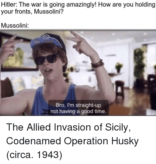 Good, Hitler, and Husky: Hitler: The war is going amazingly! How are you holding  your fronts, Mussolini?  Mussolini:  Bro, I'm straight-up  not having a good time. The Allied Invasion of Sicily, Codenamed Operation Husky (circa. 1943)