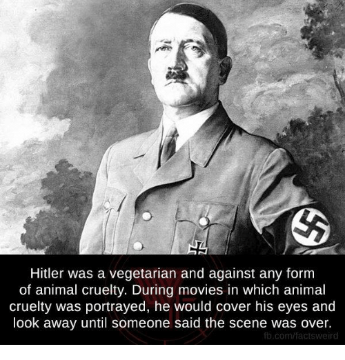 looking away: Hitler was a vegetarian and against any form  of animal cruelty. During movies in which animal  cruelty was portrayed, he would cover his eyes and  look away until someone said the scene was over.  fb.com/facts weird