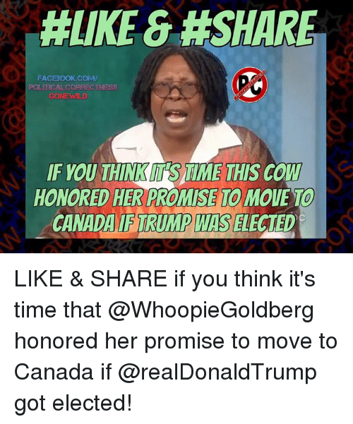 Moving To Canada: HLIKE &#SHARE  FACBOOK COMM/  POLITICAL CORRECTNESS  IF YOU THINKM SAIME THIS COW  HONORED HER PROMISE MOUE TO  CANADA TRUMP WIS  ELECTED LIKE & SHARE if you think it's time that @WhoopieGoldberg honored her promise to move to Canada if @realDonaldTrump got elected!