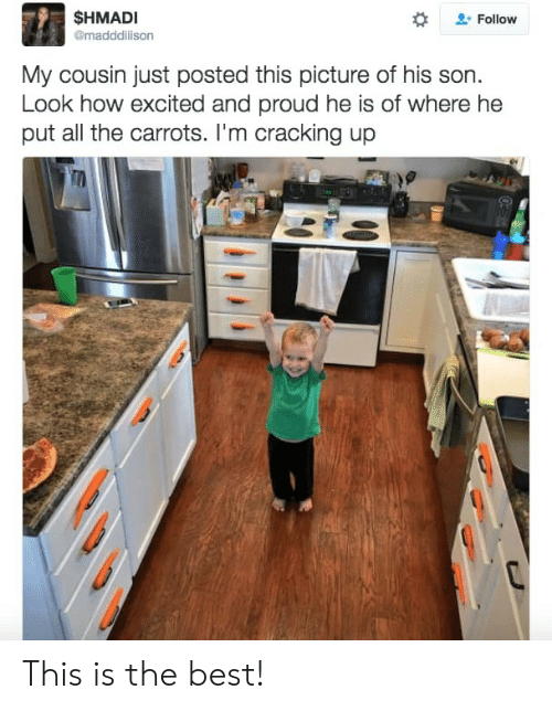 Best, Proud, and All The: $HMADI  Follow  @maddilison  My cousin just posted this picture of his son  Look how excited and proud he is of where he  put all the carrots. I'm cracking up  00 This is the best!