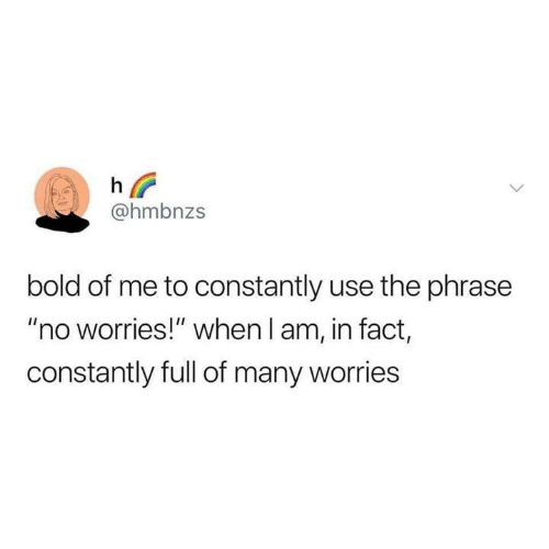"""Funny, Tumblr, and Bold: @hmbnzs  bold of me to constantly use the phrase  """"no worries!"""" when l am, in fact,  constantly full of many worries"""