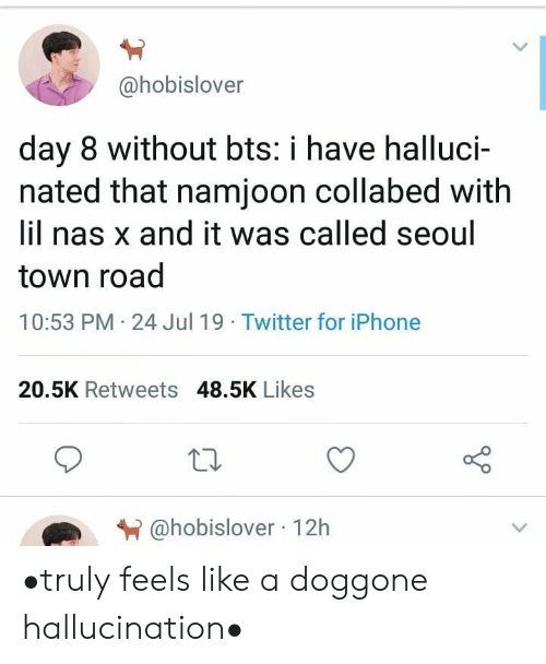 Nas: @hobislover  day 8 without bts: i have halluci-  nated that namjoon collabed with  lil nas x and it was called seoul  town road  10:53 PM 24 Jul 19 Twitter for iPhone  20.5K Retweets 48.5K Likes  @hobislover 12h •truly feels like a doggone hallucination•