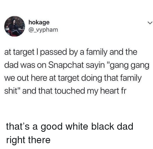 "We Out: hokage  @_vypham  at target l passed by a family and the  dad was on Snapchat sayin ""gang gang  we out here at target doing that family  shit"" and that touched my heart fr that's a good white black dad right there"