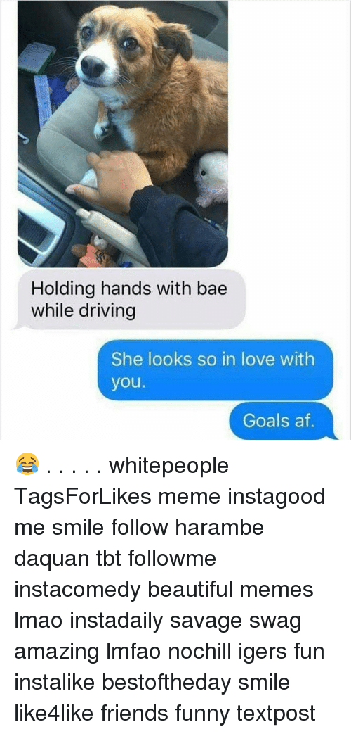Harambism: Holding hands with bae  while driving  She looks so in love with  you.  Goals af 😂 . . . . . whitepeople TagsForLikes meme instagood me smile follow harambe daquan tbt followme instacomedy beautiful memes lmao instadaily savage swag amazing lmfao nochill igers fun instalike bestoftheday smile like4like friends funny textpost