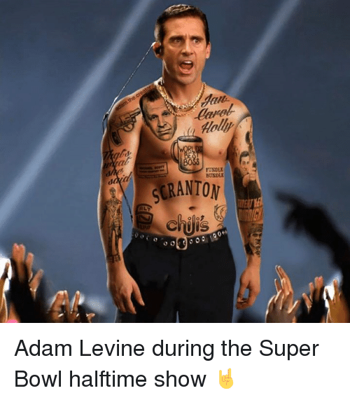 Nfl, Super Bowl, and Adam Levine: Holly  UNDE  BUNDLE  CRANTON  9 Adam Levine during the Super Bowl halftime show 🤘