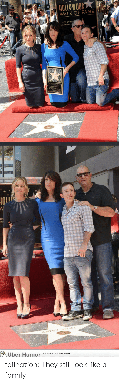 Family, Tumblr, and Uber: HOLLyWOOD  WALK OF FAME  HOLLYWO  KATEY SAGAL  но  OM  KATE  Uber Humor  I'm afraid I just blue myself. failnation:  They still look like a family