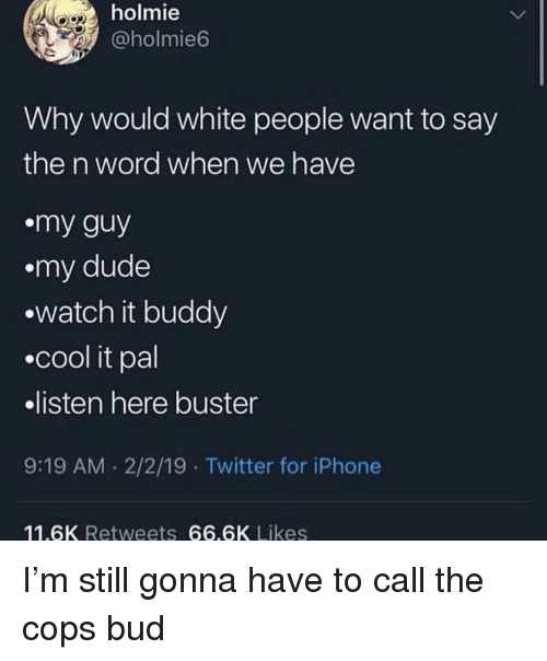 Dude, Iphone, and Twitter: holmie  @holmie6  Why would white people want to say  the n word when we have  my guy  .my dude  watch it buddy  .cool it pal  listen here buster  9:19 AM .2/2/19 Twitter for iPhone  11.6K Retweets 66.6K Likes I'm still gonna have to call the cops bud