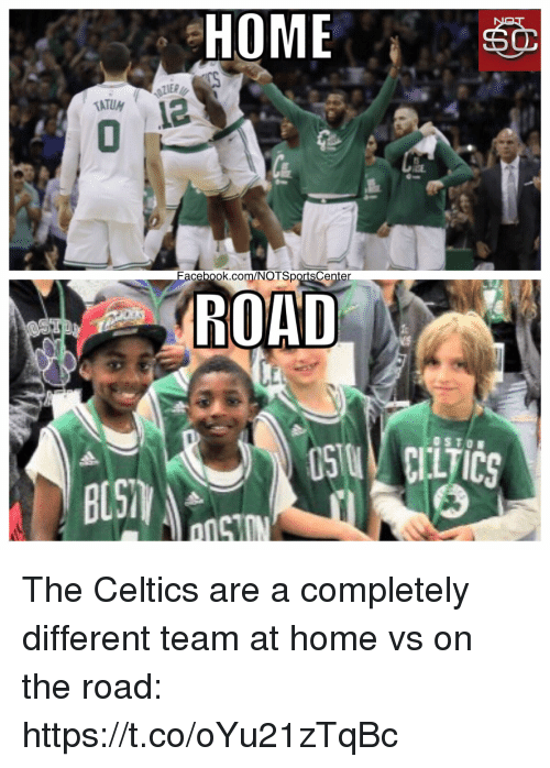 Sports, Celtics, and Home: HOME  ATUM  cebook.com/NOTSportsCenter  ROAD  BUST The Celtics are a completely different team at home vs on the road: https://t.co/oYu21zTqBc