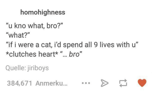 "quell: homohighness  ""u kno what, bro?""  ""what?""  ""if i were a cat, id spend all 9 lives with u""  *clutches heart*  bro""  Quelle: jiriboys  384,671 Anmerku..."