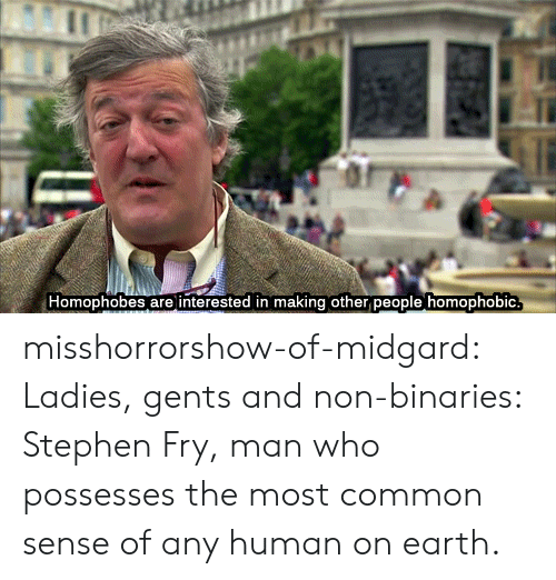 Most Common: Homophobes are interested in making other people homophobic misshorrorshow-of-midgard:  Ladies, gents and non-binaries: Stephen Fry, man who possesses the most common sense of any human on earth.