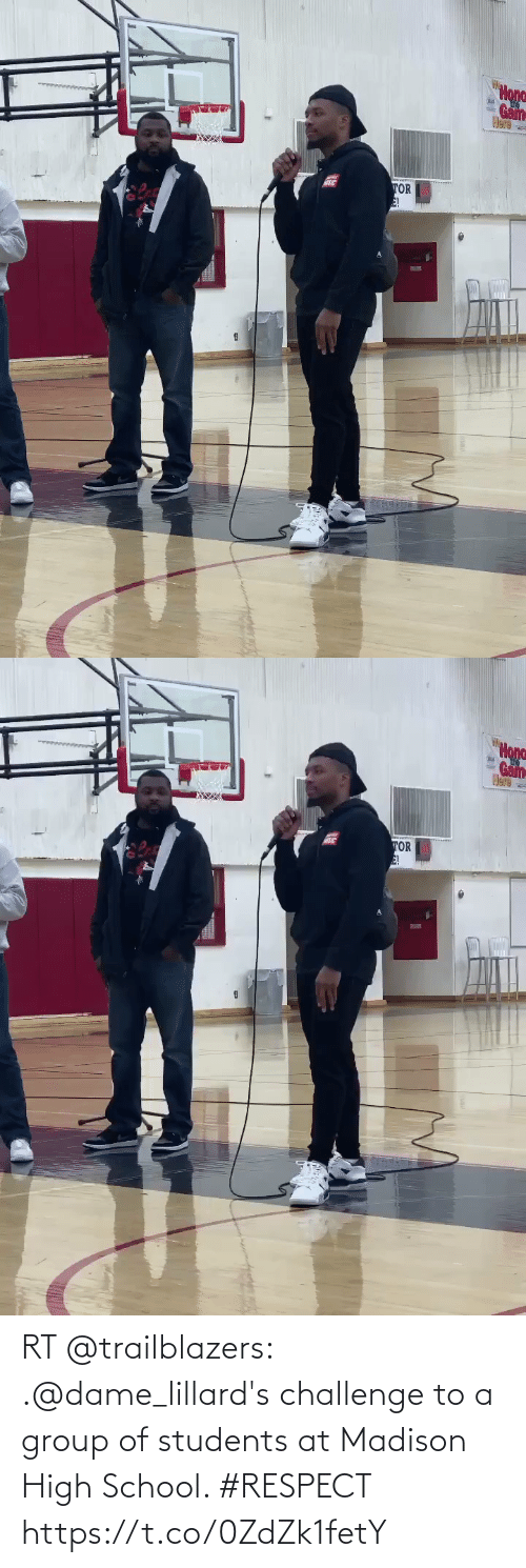 Hona: Hona  Game  Here  TOR  E!   Hona  Gam  Here  TOR  E! RT @trailblazers: .@dame_lillard's challenge to a group of students at Madison High School.   #RESPECT https://t.co/0ZdZk1fetY