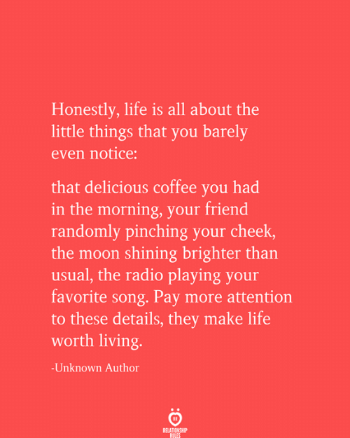 usual: Honestly, life is all about the  little things that you barely  even notice:  that delicious coffee you had  in the morning, your friend  randomly pinching your cheek,  the moon shining brighter than  usual, the radio playing your  favorite song. Pay more attention  to these details, they make life  worth living.  -Unknown Author  RELATIONSHIP  RULES