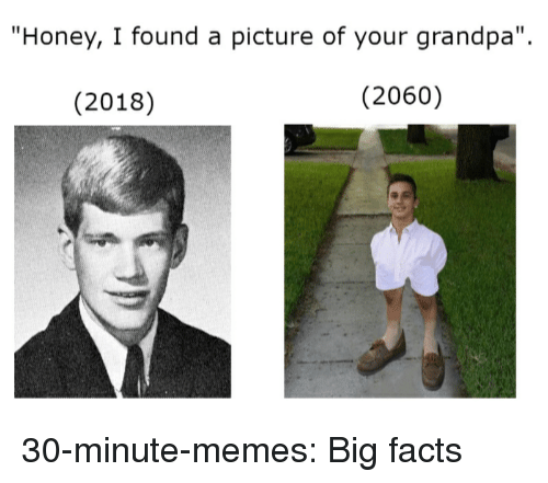 """Facts, Memes, and Target: """"Honey, I found a picture of your grandpa"""".  (2018)  (2060) 30-minute-memes: Big facts"""