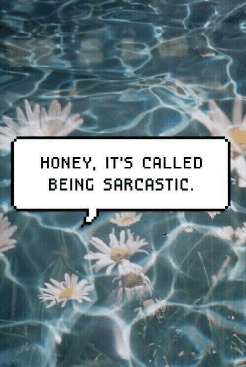 Honey, Sarcastic, and  Called: HONEY, IT'S CALLED  BEING SARCASTIC