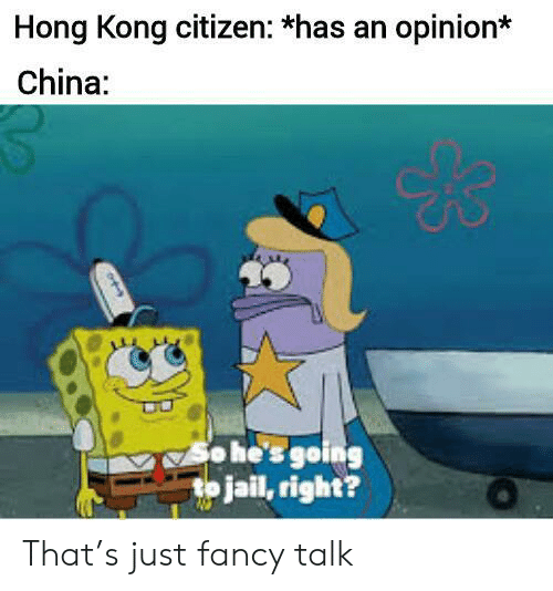 Going To Jail: Hong Kong citizen: *has an opinion*  China:  o he's going  to jail, right? That's just fancy talk