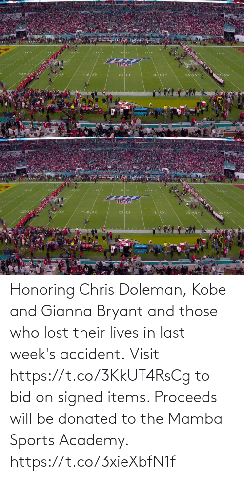 mamba: Honoring Chris Doleman, Kobe and Gianna Bryant and those who lost their lives in last week's accident.  Visit https://t.co/3KkUT4RsCg to bid on signed items. Proceeds will be donated to the Mamba Sports Academy. https://t.co/3xieXbfN1f
