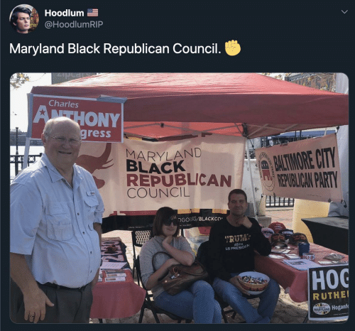"Party, Republican Party, and Black: Hoodlum E  @HoodlumRIP  Maryland Black Republican Council.  Charles  ATHONY  gress  MARYLAND  BLACK  REPUBLICAN  COUNCIL  PATMORE CITY  REPUBLICAN PARTY  DGOFORG/BLACKCO  www.M  OREA  TRUM  TRUM  ""RUM  45TH  US PRESIDEN  Нос  RUTHEI  MARYLAND Hoganfe"