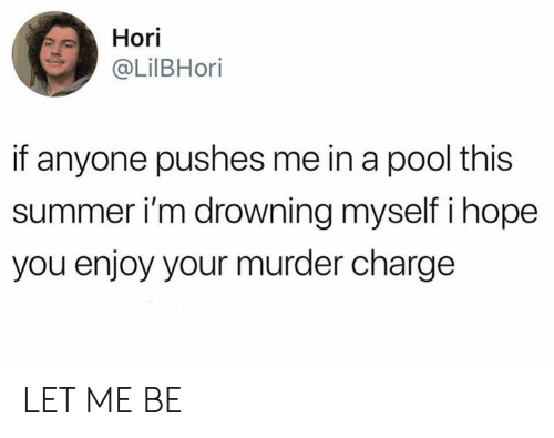 let me be: Hori  @LilBHori  if anyone pushes me in a pool this  summer i'm drowning myself i hope  you enjoy your murder charge LET ME BE