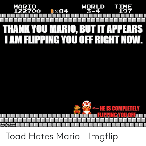 Funny Mario Memes: HORLD  3-4  TIME  197  MARIO  122700  x84  THANK YOU MARIO, BUT IT APPEARS  IAM FLIPPING YOU OFF RIGHT NOW.  -- HE IS COMPLETELY  FLIPPINGYOU,OFF  imgfip.com Toad Hates Mario - Imgflip