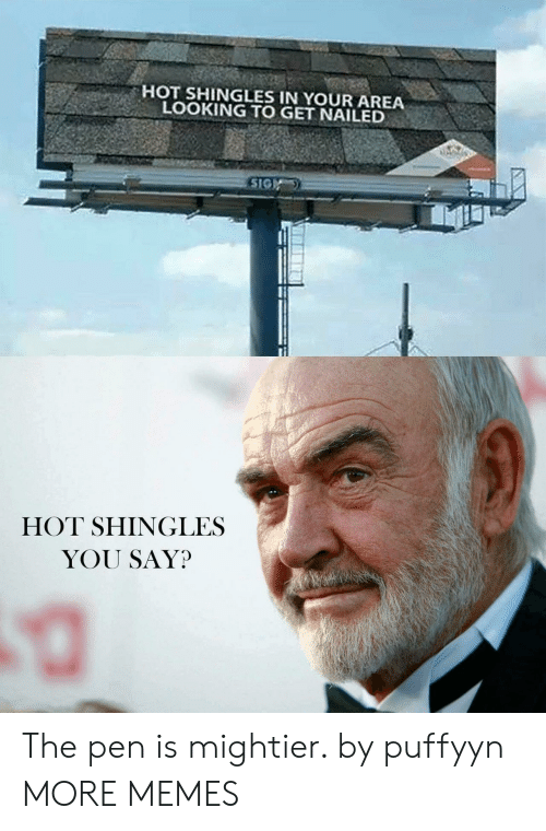 Dank, Memes, and Target: HOT SHINGLES IN YOUR AREA  LOOKING TO GET NAILED  SIG  HOT SHINGLES  YOU SAY? The pen is mightier. by puffyyn MORE MEMES