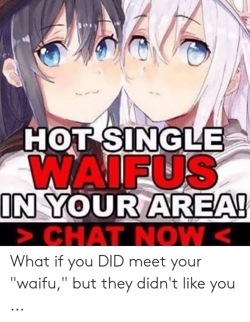 """Waifu Meaning: HOT SINGLE  WAIFUS  IN YOUR AREA!  CHAT NOW< What if you DID meet your """"waifu,"""" but they didn't like you ..."""