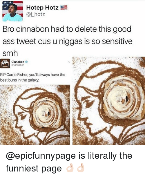 Carrie Fisher: Hotep Hotz !  Bro cinnabon had to delete this good  ass tweet cus u niggas is so sensitive  smh  Cinnabon  RIP Carrie Fisher, you'll always have the  best buns in the galaxy. @epicfunnypage is literally the funniest page 👌🏻👌🏻
