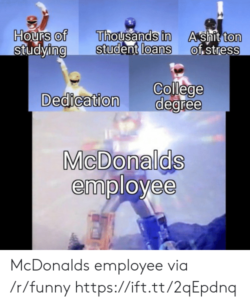 Shit Ton: Hours of  StudyingStudent  Thousands in  loans  A shit ton  of stress  0  0  0  0  0  College  Dedication degree  MicDonalds  employee McDonalds employee via /r/funny https://ift.tt/2qEpdnq