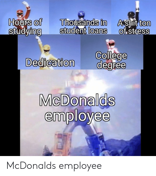 Shit Ton: Hours of  StudyingStudent  Thousands in  loans  A shit ton  of stress  0  0  0  0  0  College  Dedication degree  MicDonalds  employee McDonalds employee