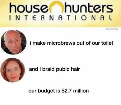 Dank, Budget, and Hair: house hunters  I N T E R NA TION A U  drgraylang  i make microbrews out of our toilet  and i braid pubic hair  our budget is $2.7 million
