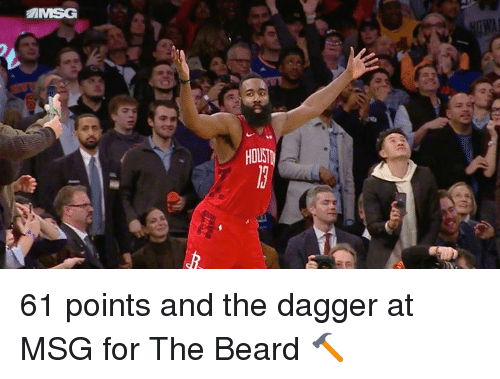 Beard, Msg, and Dagger: HOUST 61 points and the dagger at MSG for The Beard 🔨