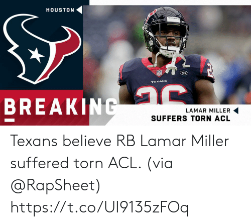 acl: HOUSTON  TEXANS  TEXANS  BREAKING  LAMAR MILLER  SUFFERS TORN ACL Texans believe RB Lamar Miller suffered torn ACL. (via @RapSheet) https://t.co/UI9135zFOq