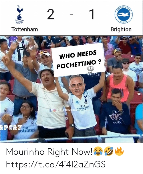 tottenham: HOVE  2 - 1  DRIGHTON  TOTTENHAM  HOTSPUR  ALBION  Tottenham  Brighton  Em  Jeer  WHO NEEDS  РОСНЕТTINО ?  mifi  MJJ  NUMADS  POrIN  fO@MJJ.TROLLINGER  RPCRZw  mirates Mourinho Right Now!😂🤣🔥 https://t.co/4i4I2aZnGS