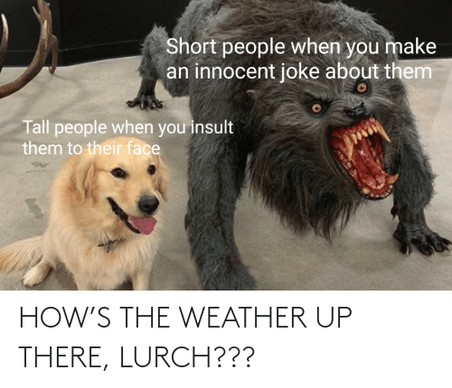 how: HOW'S THE WEATHER UP THERE, LURCH???