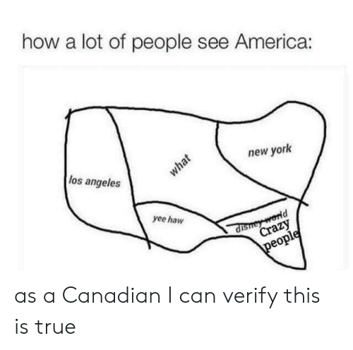 yee: how a lot of people see America:  los angeles  new york  what  yee haw  dishey world  Crazy  people as a Canadian I can verify this is true