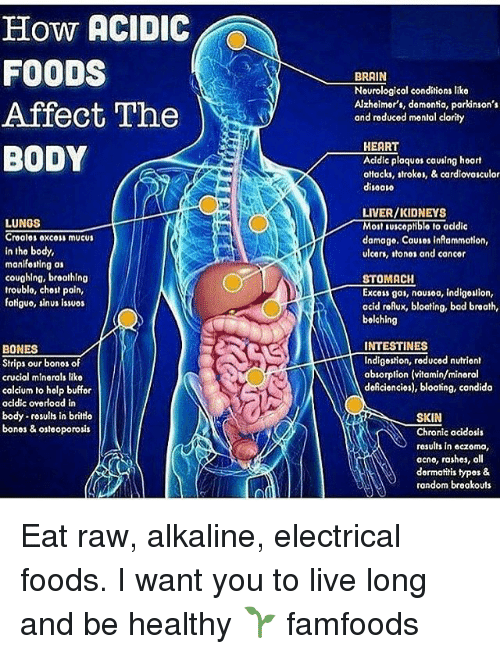 Living Longe: How ACIDIC  FOODS  Affect The  BODY  LUNGS  Cro alos oxc01 mucus  in tho body,  manif01Hng as  coughing, broathlng  troublo, chost pain,  fotiguo, sinus issuos  BONES  Strips our bonos of  crucial minorals liko  calcium to holp buffor  acidic oyorload in  body  rosults in britto  bonos & osteoporosis  BRAIN  Nourological conditions liko  Alzhoimor's, domontia, parkinson's  and reducod montal clarity  HEART  Acidic plaquos causing hoart  ottacks, strokor, & cardlovosculor  disoovo  LIVER/KIDNEYS  Molt Iusceptiblo No addic  damage. Causes infammotion,  ulcers, ton01 and concor  STOMACH  Excoss gas, nousoo, indigouion,  acid roAux, bloating, bad braath,  bolching  INTESTINES  Indigestion, reduced nutrient  absorption (vitamin/minoral  doAciencios), bloating, condido  SKIN  Chronic acidosis  results in eczoma,  acno, rashes, oll  dormatitis typos &  rondom brookouts Eat raw, alkaline, electrical foods. I want you to live long and be healthy 🌱 famfoods