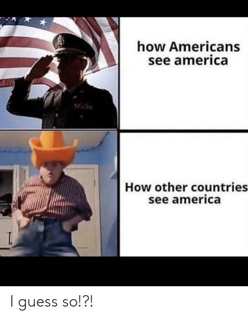 Countries: how Americans  see america  How other countries  see america  T. I guess so!?!