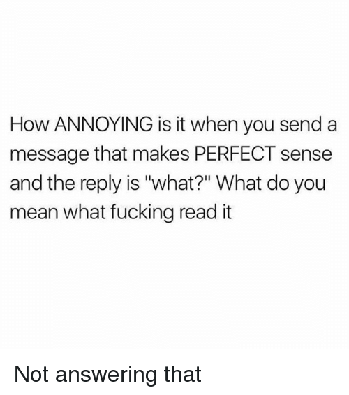 """makes-perfect-sense: How ANNOYING is it when you send a  message that makes PERFECT sense  and the reply is """"what?"""" What do you  mean what fucking read it Not answering that"""