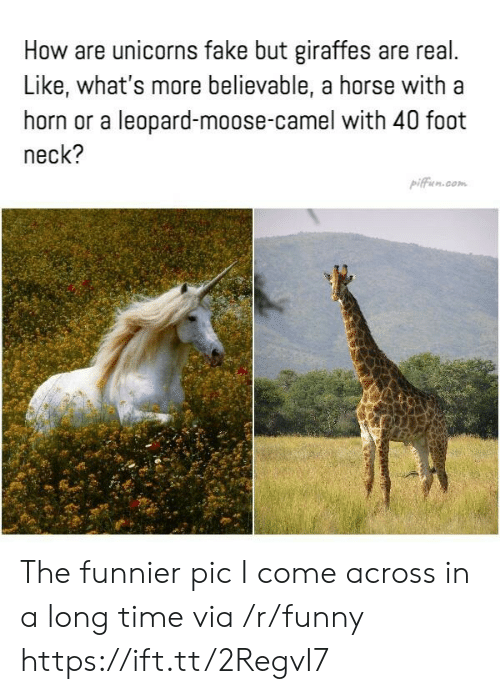 Believable: How are unicorns fake but giraffes are real  Like, what's more believable, a horse with a  horn or a leopard-moose-camel with 40 foot  neck?  pifficn.com The funnier pic I come across in a long time via /r/funny https://ift.tt/2RegvI7