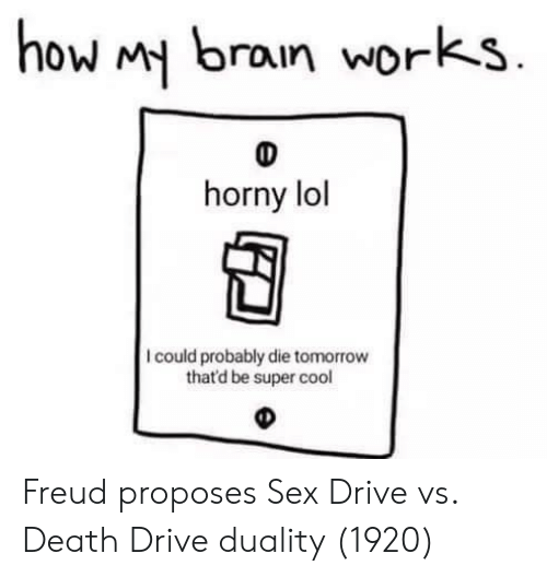 Horny, Lol, and Sex: how brain works  horny lol  I could probably die tomorrow  that'd be super cool Freud proposes Sex Drive vs. Death Drive duality (1920)