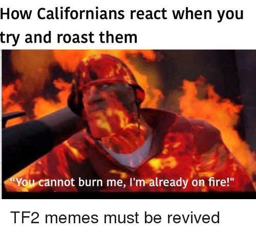 "Fire, Memes, and Roast: How Californians react when you  try and roast them  You cannot burn me, I'm already on fire!"" TF2 memes must be revived"