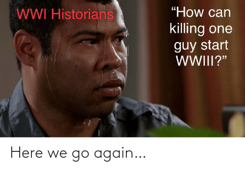 "Killing: ""How can  WWI Historians  killing one  guy start  WWIII?"" Here we go again…"