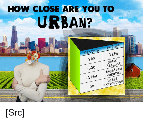 Aas: HOW CLOSE ARE YOU TO  URBAN?  distan?effect  yes  life  petal  500disgust  impaired  vegetal  1200  brief  no  extinction [Src]