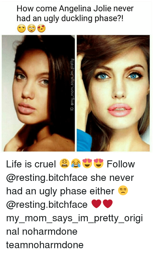 Life, Memes, and Ugly: How come Angelina Jolie never  had an ugly duckling phase?! Life is cruel 😩😂😍😍 Follow @resting.bitchface she never had an ugly phase either 😒 @resting.bitchface ❤❤ my_mom_says_im_pretty_original noharmdone teamnoharmdone