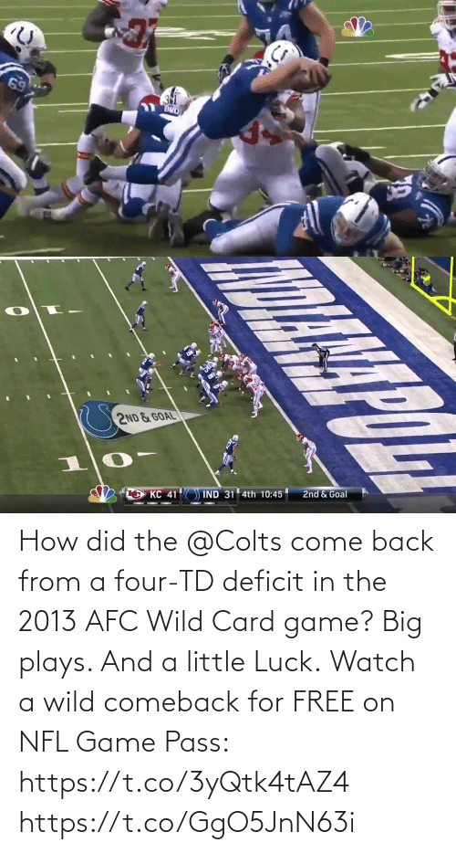 afc: How did the @Colts come back from a four-TD deficit in the 2013 AFC Wild Card game?  Big plays. And a little Luck.  Watch a wild comeback for FREE on NFL Game Pass: https://t.co/3yQtk4tAZ4 https://t.co/GgO5JnN63i